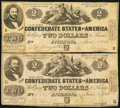 Confederate Notes:1862 Issues, T42 $2 1862 PF-5 Cr. 337 Two Examples.. ... (Total: 2 notes)