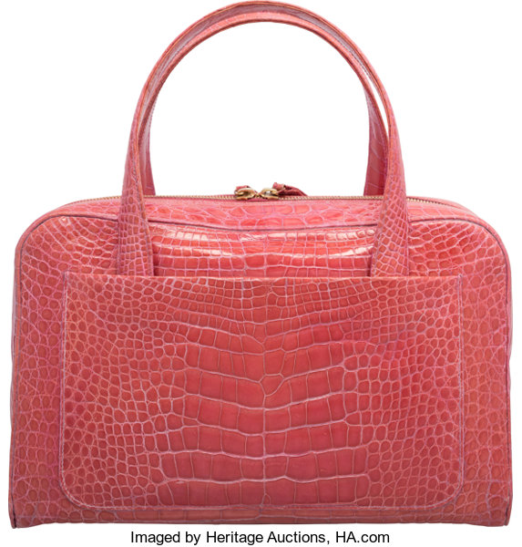 ae2fa894cff2 Chanel Shiny Pink Crocodile Bowler Bag. Very Good to | Lot #58010 |  Heritage Auctions