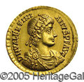 Ancients:Roman, Ancients: Valentinian II. A.D. 375-392. AV solidus (20 mm, 4.02 g).Trier, A.D. 389-390. Diademed, draped and cuirassed bust right /V...