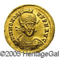 Ancients:Roman, Ancients: Honorius. A.D. 393-408. AV solidus (20 mm, 4.40 g).Constantinople, A.D. ca. 403-408. Diademed, helmeted and cuirassedbust ...
