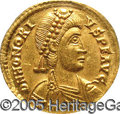 Ancients:Roman, Ancients: Honorius. A.D. 393-423. AV solidus (21 mm). Ravenna, A.D.402-423. Diademed, draped and cuirassed bust right / Emperorstand...