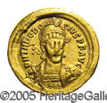 Ancients:Roman, Ancients: Theodosius II. A.D. 408-450. AV solidus (21 mm, 4.35 g).Constantinople, A.D. 408-419. Diademed, helmeted and cuirassedbust...