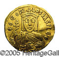 Ancients:Byzantine, Ancients: Theophilus. A.D. 829-842. AV solidus (20 mm, 4.37 g).Constantinople, A.D. 830-840. Crowned facing bust, holdingpatriarchal...