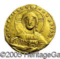 Ancients:Byzantine, Ancients: Constantine VII, with Romanus II. A.D. 913-959. AVsolidus (19 mm, 3.92 g). Constantinople, A.D. 945-959. Nimbate bustof Ch...