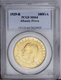 Albania: , Albania: King Zog I gold 100 Franga Ari 1929R PROVA, KM-PR39, MS64 PCGS, fully lustrous and very rare....