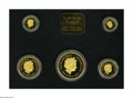 Australia: , Australia: Five-piece Prospector gold Nugget Proof Set 2001, 1/20oz-1 oz, unlisted in Krause, Gem Proof in the original wooden case.T... (Total: 5 Coins Item)