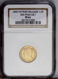 Belgium: , Belgium: Leopold I Gilt Pattern 1/2 Franc 1859, as KM-Pn55 butgilt, Proof 61 NGC (the holder incorrectly attributes this asKM-Pn54....