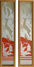 Decorative Arts, French, A Pair of Art Deco Framed Eglomisé Mirrors with Antelope Motifs,20th century. 21-1/4 inches high x 4-5/8 inches wide (54.0 ...(Total: 2 Items)