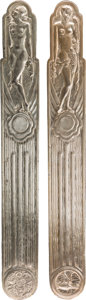 Decorative Arts, Continental, A Pair of Art Deco Silvered Metal Door Panels . 35-1/8 inches highx 4-1/2 inches wide (89.2 x 11.4 cm). ... (Total: 2 Items)