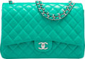 """Luxury Accessories:Bags, Chanel Green Quilted Lambskin Leather Maxi Double Flap Bag.Excellent to Pristine Condition. 13"""" Width x 9"""" Height x4..."""