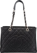 "Luxury Accessories:Bags, Chanel Black Quilted Caviar Leather Grand Shopping Tote Bag.Very Good to Excellent Condition. 13"" Width x 10"" Height..."