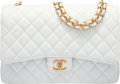"Luxury Accessories:Bags, Chanel White Quilted Caviar Leather Maxi Double Flap Bag.Pristine Condition. 13"" Width x 9"" Height x 4"" Depth...."