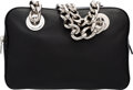 "Luxury Accessories:Bags, Prada Black Leather Chain Tote Bag. Excellent to PristineCondition. 12"" Width x 8"" Height x 3.5"" Depth. ..."