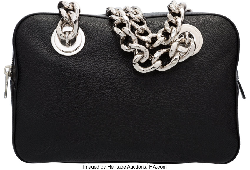 4d9bc2a568c2 Prada Black Leather Chain Tote Bag. Excellent to
