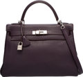 Luxury Accessories:Bags, Hermes 32cm Raisin Clemence Leather Retourne Kelly Bag withPalladium Hardware. F Square, 2002. Very GoodCondition...