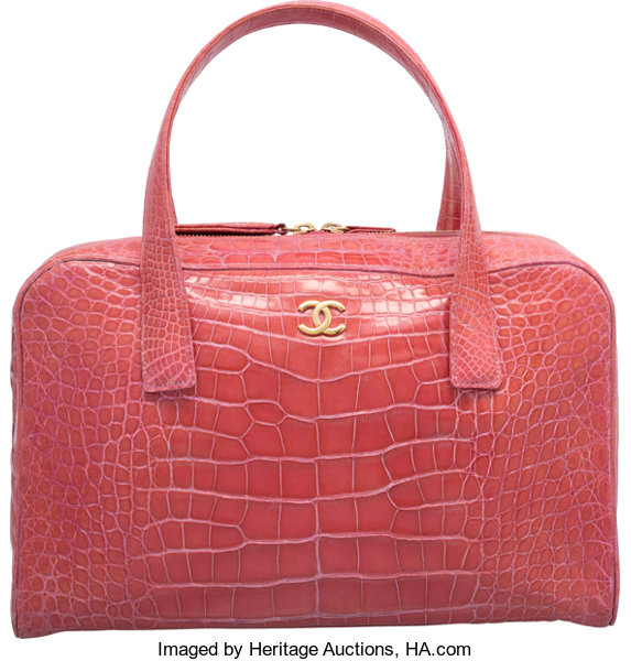 1132dc983d17 Very Good to ExcellentCondition; Luxury Accessories:Bags, Chanel Shiny Pink Crocodile  Bowler Bag. Very Good to ExcellentCondition ...