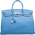 Luxury Accessories:Bags, Hermes 40cm Blue Paradis Clemence Leather Birkin Bag with PalladiumHardware. R Square, 2014. Excellent Condition. ...