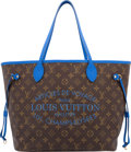 "Luxury Accessories:Bags, Louis Vuitton Classic Monogram Canvas & Blue Veau CachemireLeather Ikat Neverfull Bag. Excellent Condition. 12.5""Wid..."