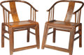 Furniture , A Pair of Chinese Hardwood Horseshoe Chairs, 19th century. 35-1/4 h x 24 w x 19-1/2 d inches (89.5 x 61.0 x 49.5 cm). ... (Total: 2 Items)
