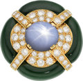 Estate Jewelry:Rings, Star Sapphire, Diamond, Nephrite Jade, Gold Ring, David Webb. ...