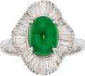 Estate Jewelry:Rings, Jadeite Jade, Diamond, Platinum Ring. ...