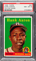 Baseball Cards:Singles (1950-1959), 1958 Topps Hank Aaron (Yellow Letters) #30 PSA NM-MT 8....