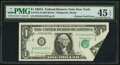 Error Notes:Foldovers, Fr. 1915-B $1 1988A Federal Reserve Note. PMG Choice Extremely Fine45 EPQ.. ...