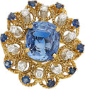 Estate Jewelry:Rings, Burma Sapphire, Sapphire, Diamond, Gold Ring. ...