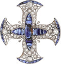 Estate Jewelry:Brooches - Pins, Sapphire, Diamond, Platinum Pendant-Brooch. ...