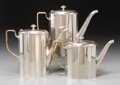 Silver Holloware, Continental, Three WMF Art Deco Silver-Plated Tea and Coffee Pots, Geislingen,Germany, 20th century. Marks: (various). 7-1/2 inches high...(Total: 3 Items)