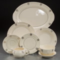 Ceramics & Porcelain, American:Modern  (1900 1949)  , A Forty-Piece Assembled Taylor, Smith & Taylor Art Deco PartialPlatinum-Plated Ceramic Luncheon Service, circa 1950. Marks:...(Total: 40 Items)
