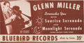 "Music Memorabilia:Posters, Glenn Miller ""Moonlight Serenade"" Promotional Poster (Bluebird Records B-10214, 1939). Very Rare. ..."