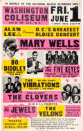 Music Memorabilia:Posters, Mary Wells/Bo Diddley Washington Coliseum Concert Poster (circa1970s)....
