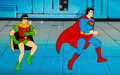 Animation Art:Production Cel, Super Friends Robin and Superman Production Cel Setup(Hanna-Barbera, c. 1970s - 1980s)....