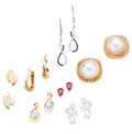Estate Jewelry:Earrings, Multi-Stone, Diamond, Gold Earrings. ... (Total: 7 Items)