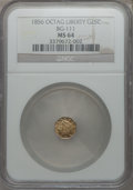 California Fractional Gold , 1856 25C Liberty Octagonal 25 Cents, BG-111, R.3, MS64 NGC. NGCCensus: (18/14). PCGS Population: (43/13). ...