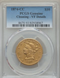 Liberty Eagles, 1874-CC $10 -- Cleaning -- Genuine PCGS. VF Details. Variety 1-A....