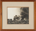 Photography, Frank J. Trost Gelatin Silver Print of the 1902 Fire at Spindletop. ...