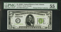 Fr. 1954-F $5 1928D Federal Reserve Note. PMG About Uncirculated 55