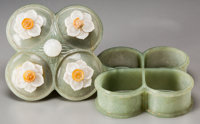 A Chinese Mughal-Style Carved Celadon Jade Box with Applied Jade and Hardstone Blossoms 1-5/8 h x 3-1/8 w x 3-1/8