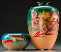 Two Japanese Cloisonne Vases with Dragon and Koi Fish Motifs, 20th century Marks: (diamond mark with three charact