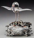 Asian:Japanese, A Japanese Silver and Mixed Metals Crane with Crystal Sphere, MeijiPeriod. 6-1/2 inches high (16.5 cm). 13.12 troy ounces (...