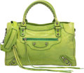 """Luxury Accessories:Bags, Balenciaga Apple Green Leather Classic City Bag. Very GoodCondition. 15"""" Width x 9.5"""" Height x 5.5"""" Depth. ..."""