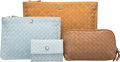 "Luxury Accessories:Accessories, Bottega Veneta Set of Three; Beige, Brown & Blue IntrecciatoNappa Leather Pouches. Very Good to Excellent Condition. 6.5""...(Total: 3 Items)"