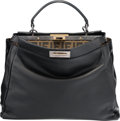 "Luxury Accessories:Bags, Fendi Black Leather Peek-A-Boo Bag. Very Good Condition.15.5"" Width x 12"" Height x 5.5"" Depth. ..."