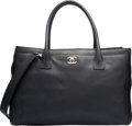 "Luxury Accessories:Bags, Chanel Black Leather Cerf Tote Bag. Very Good Condition. 14""Width x 9"" Height x 6"" Depth. ..."