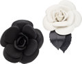"Luxury Accessories:Accessories, Chanel Set of Two; Black & White Lambskin Leather CamelliaBrooches. Excellent to Pristine Condition. 3"" Width x 3""Length... (Total: 2 Items)"