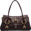 "Luxury Accessories:Bags, Dolce & Gabbana Brown Eel Shoulder Bag. Very Good Condition.17"" Width x 9"" Height x 6"" Depth. ..."