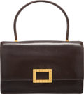 "Luxury Accessories:Bags, Hermes Ebene Calf Box Leather Sac Carre Bag with Gold Hardware.A Circle, 1971. Good Condition. 9.5"" Width x 6.5"" Heightx..."