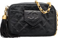 "Luxury Accessories:Bags, Chanel Black Quilted Lizard Camera Bag. Good to Very GoodCondition. 7"" Width x 5"" Height x 2.5"" Depth. ..."